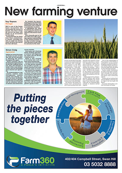 An article with the title 'New fareming venture' with pictures of Troy Thomm and Simon Craig as well as an advert by Farm 360